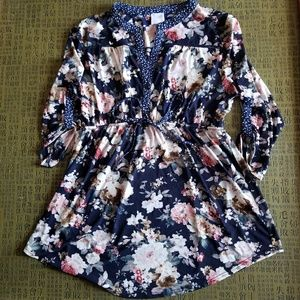 Tops - Blue Floral Maternity Shirt